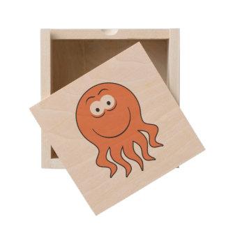 smiling octopus wooden keepsake box