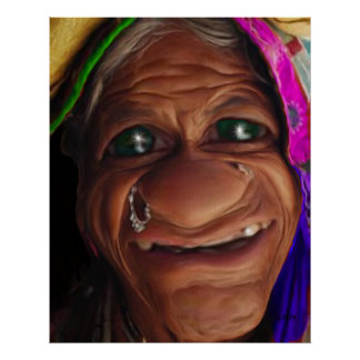 Smiling Old Woman Poster