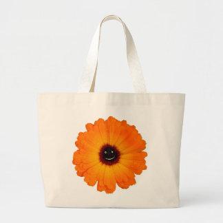 Smiling Orange Flower Large Tote Bag