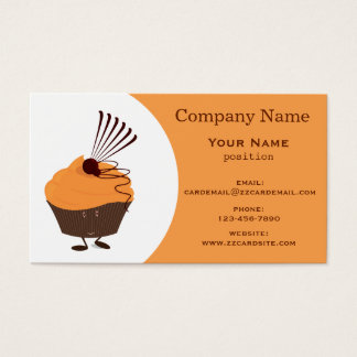 Smiling Orange-Frosted Cupcake Business Card