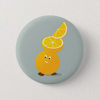 Smiling orange with slices stacked on its head pinback button
