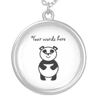 Smiling panda bear round pendant necklace