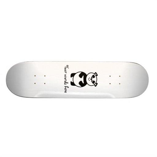 Smiling panda bear skate board