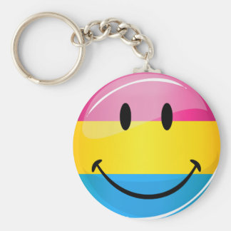 Smiling Pansexual Pride Flag Basic Round Button Keychain
