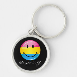 Smiling Pansexual Pride Flag Silver-Colored Round Keychain