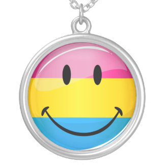 Smiling Pansexual Pride Flag Silver Plated Necklace