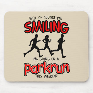 Smiling parkrun this weekend (blk) mouse pad