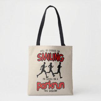 Smiling parkrun this weekend (blk) tote bag