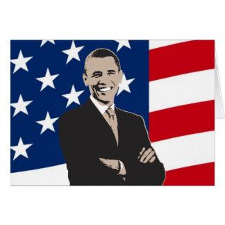 Smiling Patriotic Barack Obama Pop Art Card