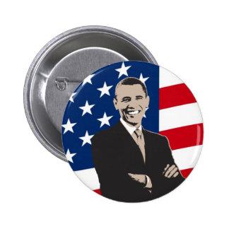 Smiling Patriotic Barack Obama Pop Art Pinback Button
