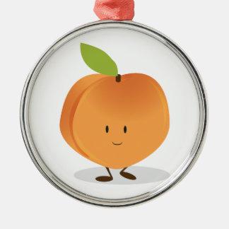Smiling Peach Metal Ornament