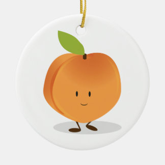 Smiling Peach Double-Sided Ceramic Round Christmas Ornament