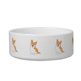 Smiling Pembroke Welsh Corgi Cartoon Bowl