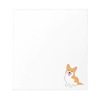 Smiling Pembroke Welsh Corgi Cartoon Notepad