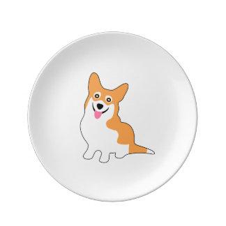 Smiling Pembroke Welsh Corgi Cartoon Porcelain Plate
