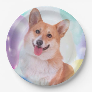Smiling Pembroke Welsh Corgi with Balloons Paper Plate