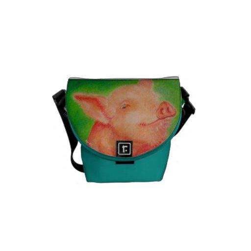 Smiling Pig Messenger Bag