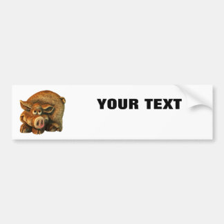 "Smiling Pig  Your Text ""Folio Extra Bold"" on White Bumper Sticker"