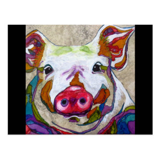 Smiling piggy with border postcard