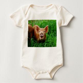 Smiling piglet organic baby shirt