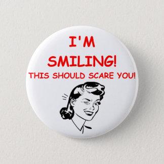 smiling pinback button