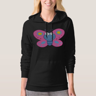 Smiling Pink Butterfly Womens Hoodie