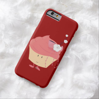 Smiling pink cupcake with flowered branch topping barely there iPhone 6 case