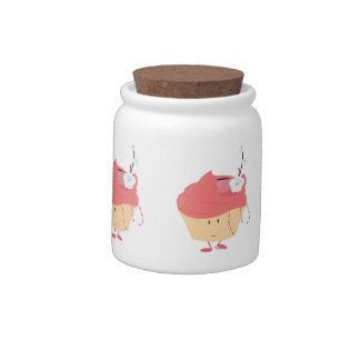 Smiling pink cupcake with flowered branch topping candy jars