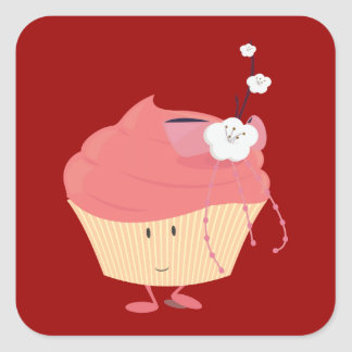 Smiling pink cupcake with flowered branch topping square sticker