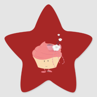 Smiling pink cupcake with flowered branch topping star sticker
