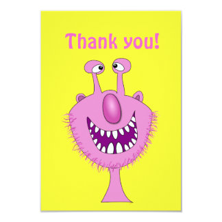 Smiling Pink Cute Monster With Beard Card