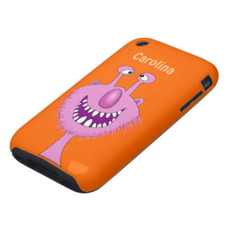 Smiling Pink Cute Monster With Beard Custom Name Tough iPhone 3 Cover