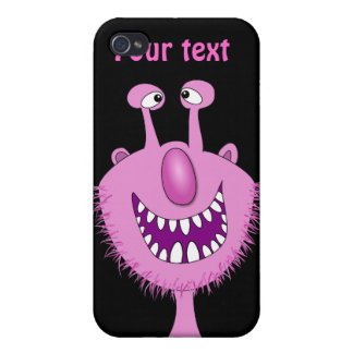 Smiling Pink Cute Monster With Beard iPhone 4 Cases