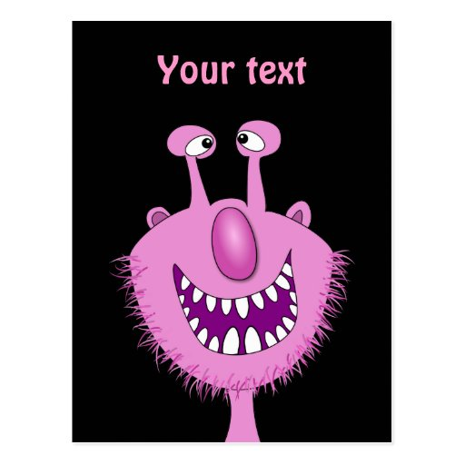 Smiling Pink Cute Monster With Beard Postcards