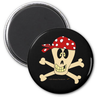 Smiling Pirate Skull and Cross Bones 2 Inch Round Magnet