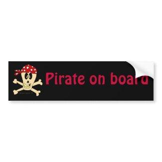 Skull and Crossbones Pirate on Board Bumper Sticker