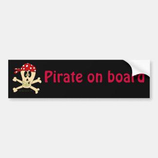 Smiling Pirate Skull and Cross Bones Bumper Sticker
