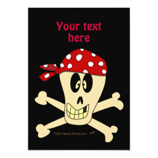 Smiling Pirate Skull and Cross Bones Card