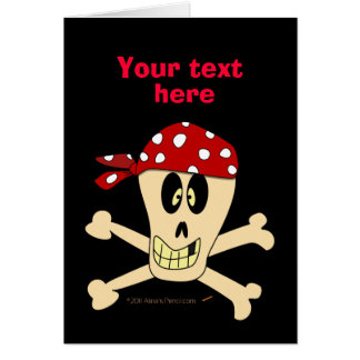 Smiling Pirate Skull and Cross Bones Greeting Cards