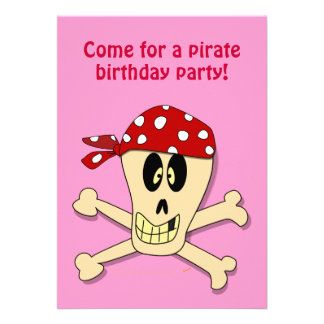 Smiling Pirate Skull and Cross Bones Personalized Invitations