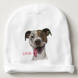 Smiling Pit Bull Dog Drawing Baby Beanie