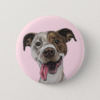 Smiling Pit Bull Dog Drawing Button