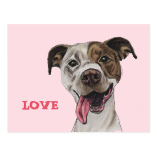 Smiling Pit Bull Dog Drawing Postcard