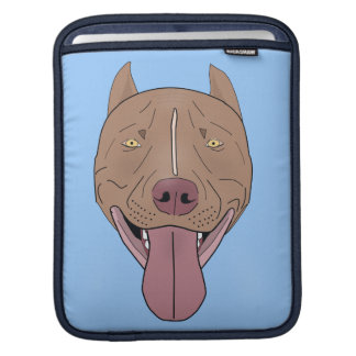 Smiling Pit Bull Portrait - Line Art Sleeve For iPads