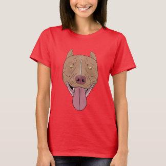 Smiling Pit Bull Portrait - Line Art T-Shirt