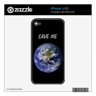 Smiling Planet SAVE ME iPhone 4/4s Skin Skins For The iPhone 4