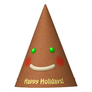 Smiling Pointed Head Gingerbread Cookie Party Hat