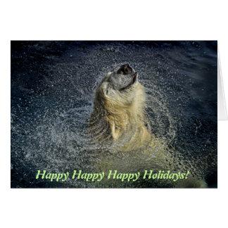 Smiling Polar Bear Water Swirl Card