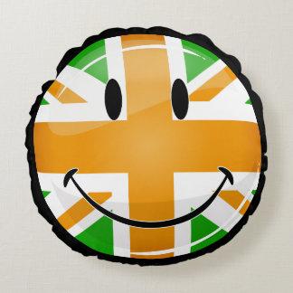 Smiling Proud Irish Brit Flag Round Pillow