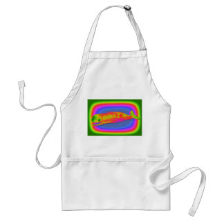 smiling psychedelic whale apron